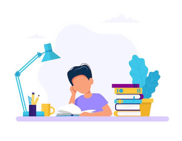 勉強する男